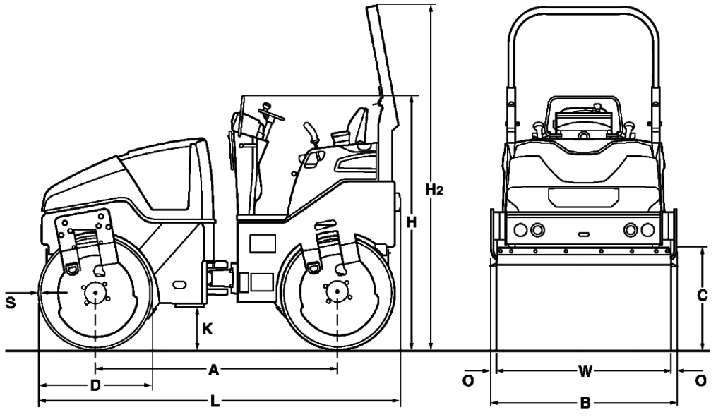 Compacteur BOMAG 1M40 fiche techinque